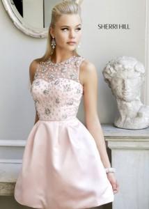 Short Pink High Neck Floral Beaded Sherri Hill 21323 Prom Dress