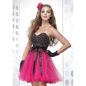 black-sash-and-pink-tulle-short-prom-dress